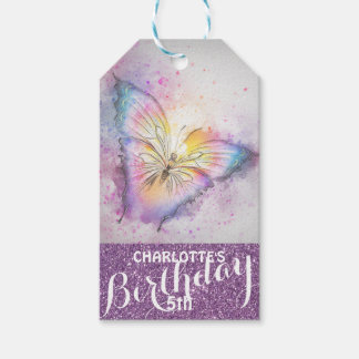 Personalized Purple Glitter  Butterfly Birthday Pack Of Gift Tags
