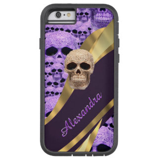 Personalized purple gothic skull tough xtreme iPhone 6 case
