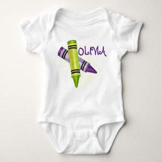 Personalized Purple Green Crayon Art Crayons Baby Bodysuit
