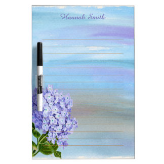 Personalized Purple Hydrangea Watercolor Dry Erase Board