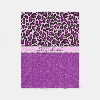 Personalized Purple Leopard Print Glitter Fleece Blanket