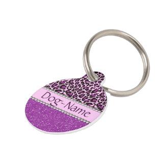 Personalized Purple Leopard Print Glitter Pet Tag