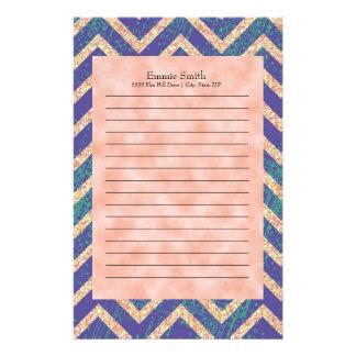 Personalized Purple Orange Grunge Chevron Pattern Stationery