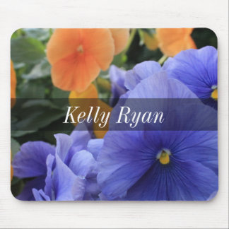 Personalized Purple & Orange Pansies, Photo 4810 Mouse Pad