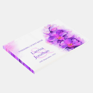 Personalized purple orchid art wedding guest book