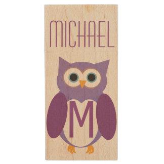 Personalized Purple Owly Wood USB 2.0 Flash Drive