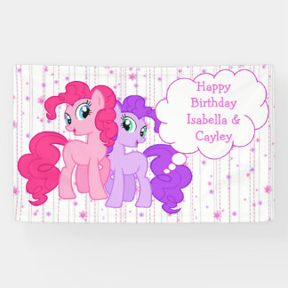 Personalized Purple & Pink Pony Twins Birthday Banner