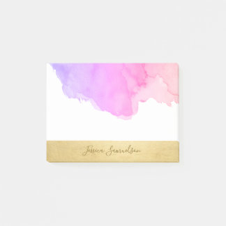 Personalized Purple Pink Watercolor Faux Gold Foil Post-it Notes