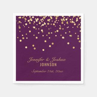 Personalized PURPLE PLUM Gold Confetti Wedding Napkin