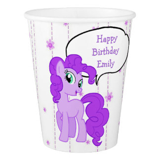 Personalized Purple Pony Birthday Girl Paper Cups