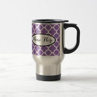 Personalized Purple Quatrefoil Name Travel Mug