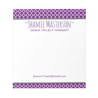 Personalized Purple Quatrefoil Notepad