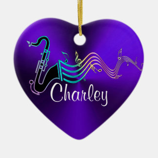 Personalized Purple Saxophone Music Holiday Heart Ceramic Ornament