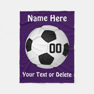 Personalized Purple Soccer Fleece Blanket