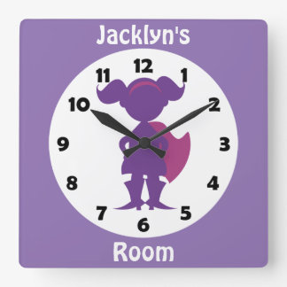 Personalized Purple Superhero Girl Kids Room Square Wall Clock
