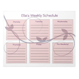 Personalized Purple Vines Weekly Schedule Notepads