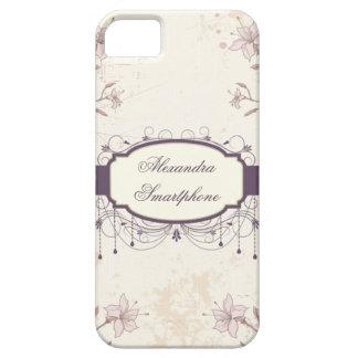 Personalized purple vintage floral iphone 5 case