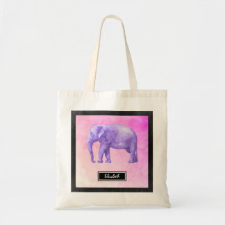Personalized Purple Watercolor Elephant