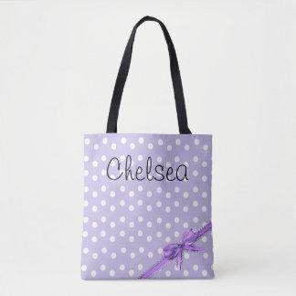 Personalized Purple & White Polka Dot Tote Bag