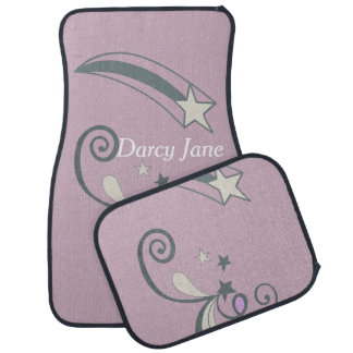 Personalized Purple White Shooting Stars Flourish Car Floor Carpet