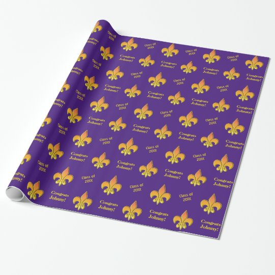Personalized Purple Yellow Fleur de Lis