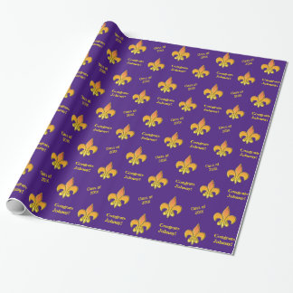 Personalized Purple Yellow Fleur de Lis Wrapping Paper