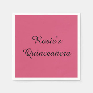 Personalized Quinceañera Napkins - Any color, font Disposable Napkin