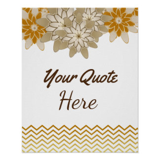Personalized Quote Wedding Gold Birthday Flowers Poster