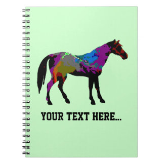 Personalized Race Horse Design On Mint Green Notebooks