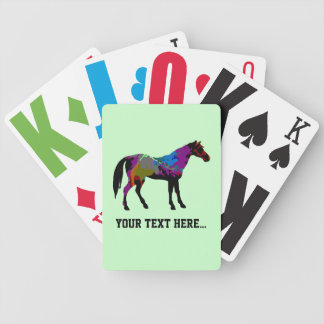 Personalized Race Horse Design On Mint Green Poker Deck