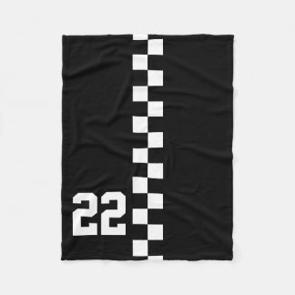Personalized Racing Flag Black And White Fleece Blanket