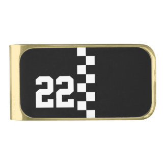 Personalized Racing Flag Black And White Gold Finish Money Clip