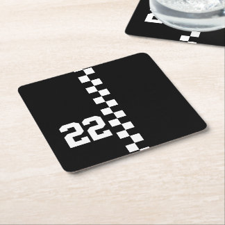 Personalized Racing Flag Black And White Square Paper Coaster