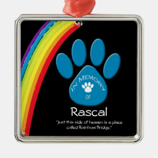 Personalized Rainbow Bridge Pet Rememberance Ornam Metal Ornament