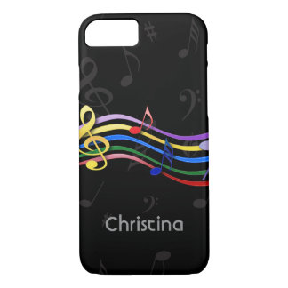 Personalized Rainbow Colored Music Notes iPhone 8/7 Case