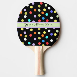 Personalized Rainbow Confetti on Black Ping Pong Paddle