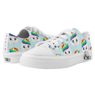 Personalized Rainbow Cute Kawaii Unicorn Face Head Low-Top Sneakers