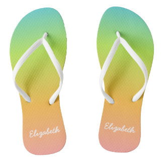 Personalized Rainbow Flip Flops