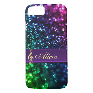 Personalized Rainbow Glitter Music iPhone 7 Case
