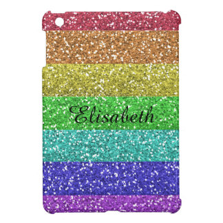 Personalized Rainbow Glitter Stripes iPad Mini Case