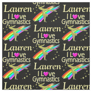 PERSONALIZED RAINBOW I LOVE GYMNASTICS FABRIC