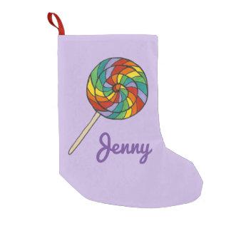 Personalized Rainbow Lollipop Candy Xmas Stocking Small Christmas Stocking