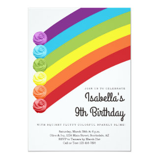 Personalized Rainbow Slime Themed Birthday Party Card