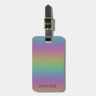 Personalized Rainbow Sparkles Luggage Tag