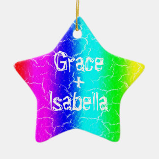 Personalized Rainbow Star Ceramic Ornament