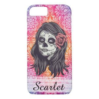 Personalized Rainbow Sugar Skull, Los Muertos iPhone 7 Case