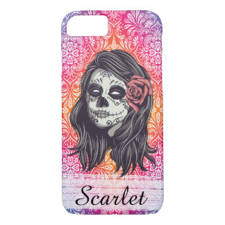 Personalized Rainbow Sugar Skull, Los Muertos iPhone 8/7 Case
