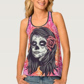 Personalized Rainbow Sugar Skull, Los Muertos Tank Top