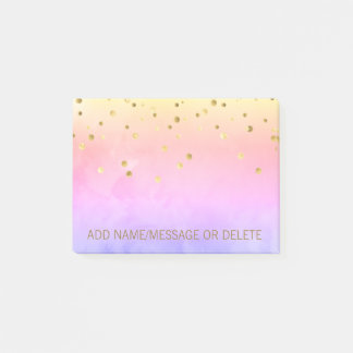 Personalized Rainbow Watercolor Faux Gold Foil Post-it Notes