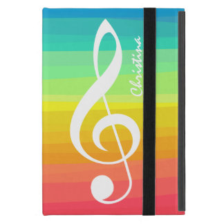 Personalized Rainbow Watercolor Treble Clef iPad Mini Cover